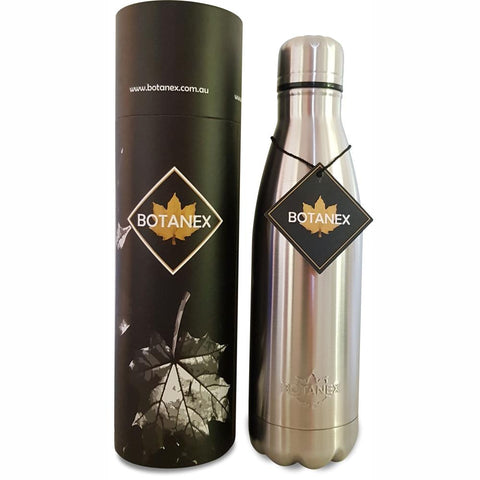 Silver Insulated Water Bottle with packaging