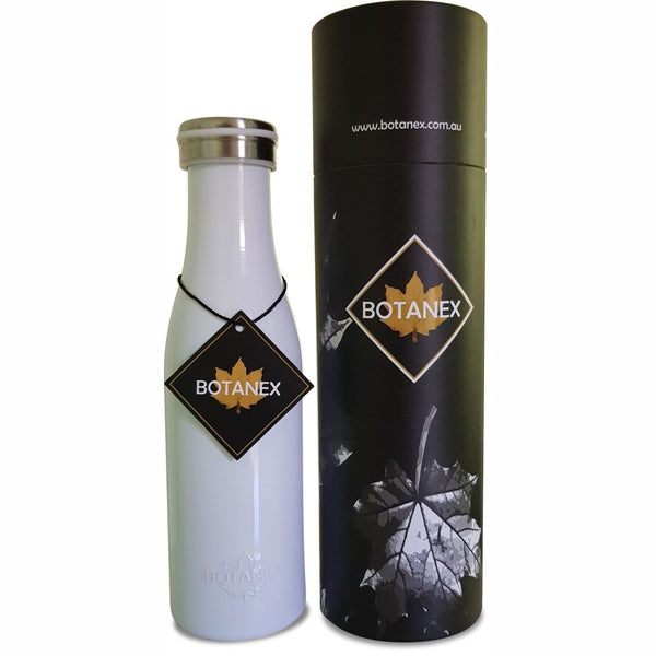 White Pastel Insulated Bottle with packaging