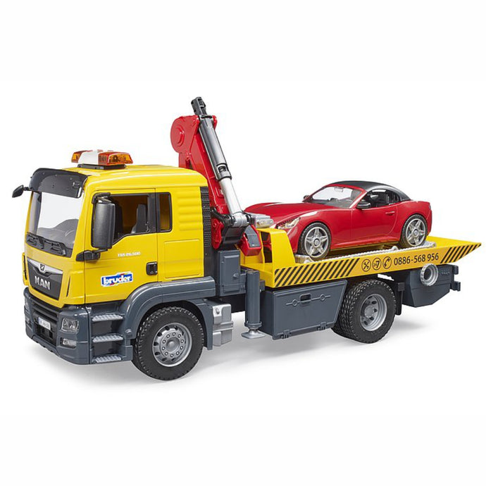 BRUDER MAN TGS tow truck with roadster 1:16