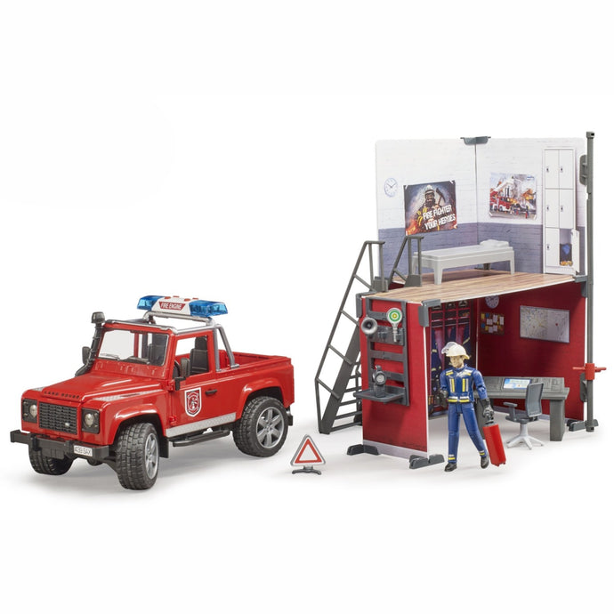 BRUDER Bworld Toy Fire Station with Land Rover Defender + Fireman