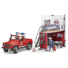 Load image into Gallery viewer, BRUDER Bworld Toy Fire Station with Land Rover Defender + Fireman
