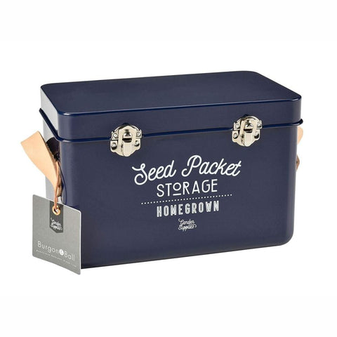 BURGON & BALL  Leather Handled Seed Packet Storage Tin - Atlantic Blue