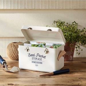 BURGON & BALL | Leather Handled Seed Packet Storage Tin - Stone