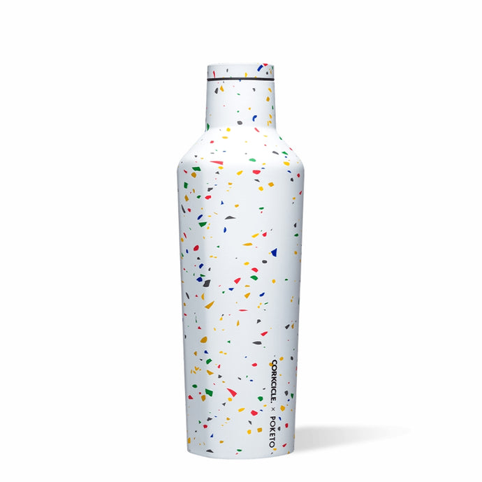 CORKCICLE x POKETO Stainless Steel Insulated Canteen 16oz (470ml) - White Terrazzo