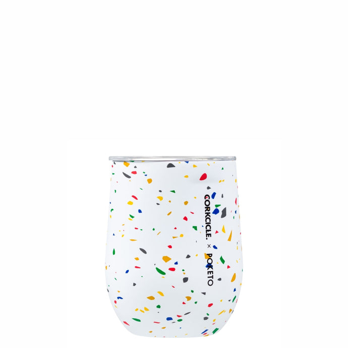 CORKCICLE x POKETO Stainless Steel Insulated Stemless Glass 12oz - White Terrazzo