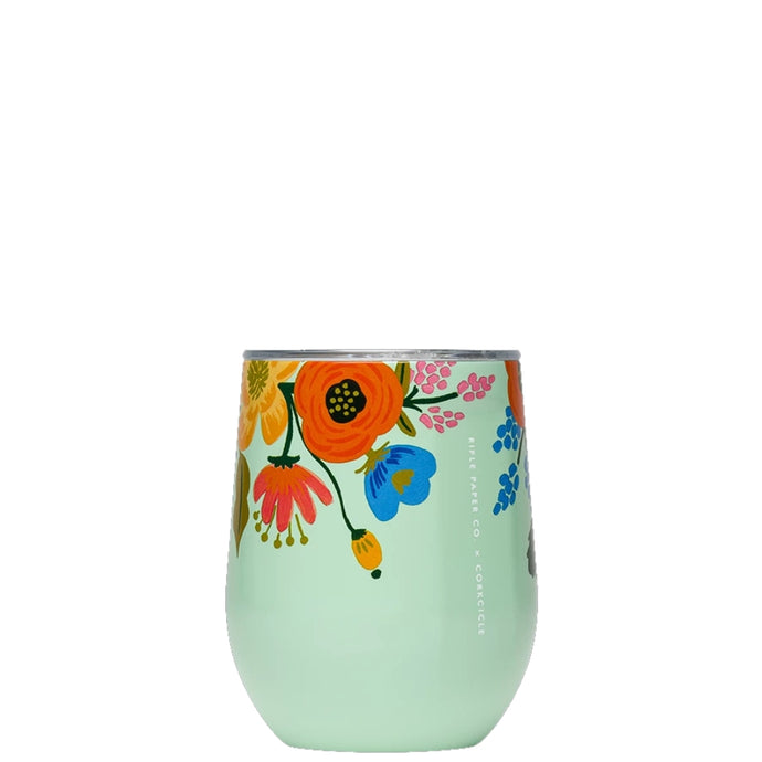 CORKCICLE x RIFLE | Stainless Steel Insulated Stemless 12oz - Lively Floral Mint