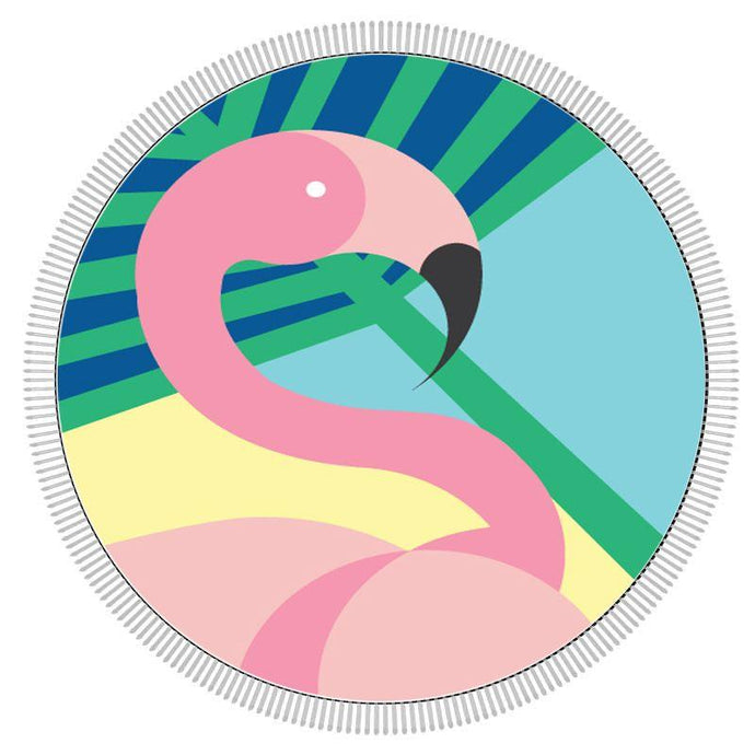 ECD-BIG MOUTH | Round Beach Towel - Flamingo
