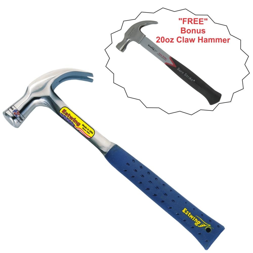 ESTWING | 24oz Claw Hammer - SHOCK REDUCTION GRIP - Combo with Free 20oz Hammer