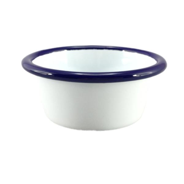 FALCON ENAMEL  Mini Ramekin - White with Blue Rim 8cm