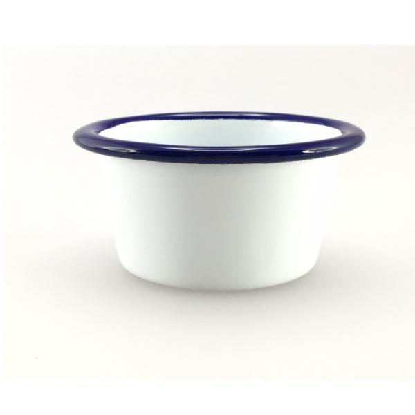 FALCON ENAMEL Mini Ramekin - White with Blue Rim 6cm