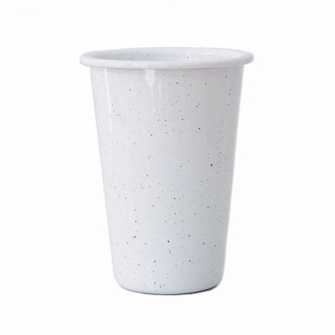 FALCON ENAMELWARE  Tall Tumbler 425ml 8cm - White with Black Speckle