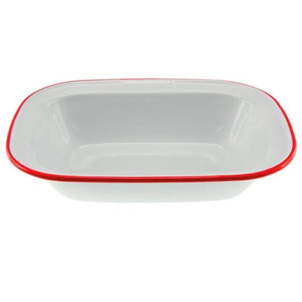 FALCON ENAMELWARE | XL Oblong Pie Dish - White with Red Rim