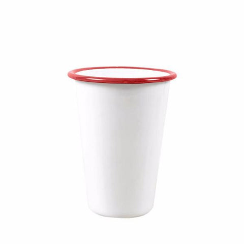 FALCON ENAMELWARE | 425ml Tall Tumbler 8cm - White with Red Rim