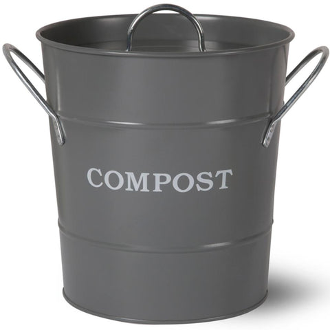 GARDEN TRADING | Metal Compost Bucket - Charcoal