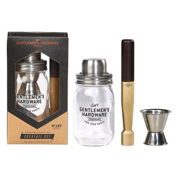 GENTLEMENS HARDWARE  Muddler & Glass Jar Cocktail
