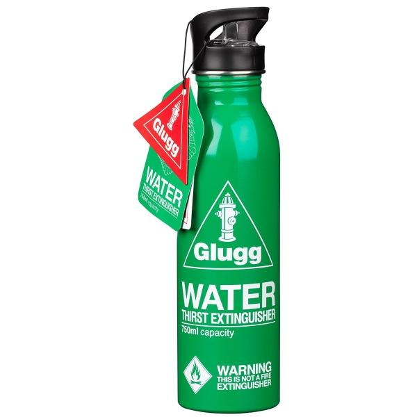 The green GLUGG GULP Water Bottle Thirst Extinguisher