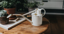 Load image into Gallery viewer, HAWS Gift Boxed Metal Indoor Plant Watering Can 'The Rowley Ripple' 2 Pint (1 Litre) -  Cream