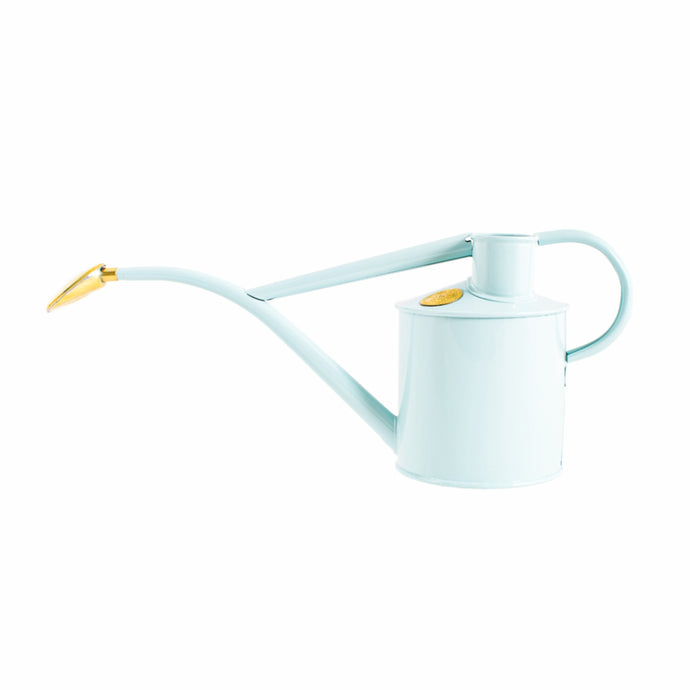 HAWS Gift Boxed Metal Indoor Plant Watering Can 'The Rowley Ripple' 2 Pint (1 Litre) - Duck Egg Blue