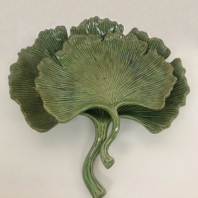 IVORY HOUSE Ginkgo Green Leaf Plate - Large