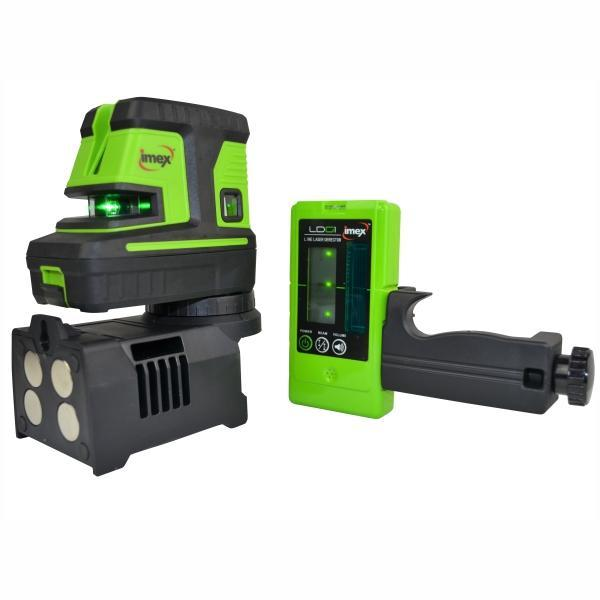 Imex LX25PD 5 DOT 2 Line Laser Level - Green Beam w/- Line Detector Series 111