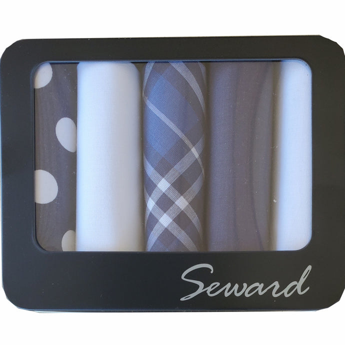 SEWARD | Men's Executive Metal Boxed Handkerchiefs set of 5 - Navys