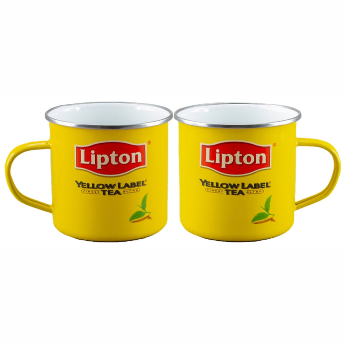 LIPTON`S Licensed SET of 2  9cm Enamel Mugs - 550ml
