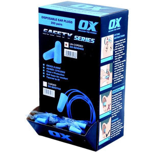 OX Corded Disposable Earplugs, Dispenser of 200PCS