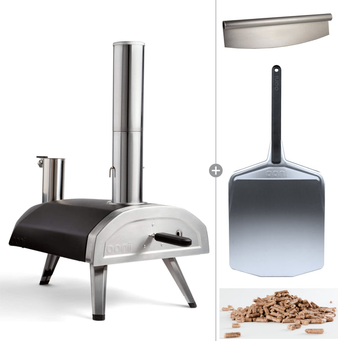 Ooni Fyra | Portable WoodFired Pellet Outdoor Pizza Oven + Peel , Pizza Slicer and 1kg Pellets
