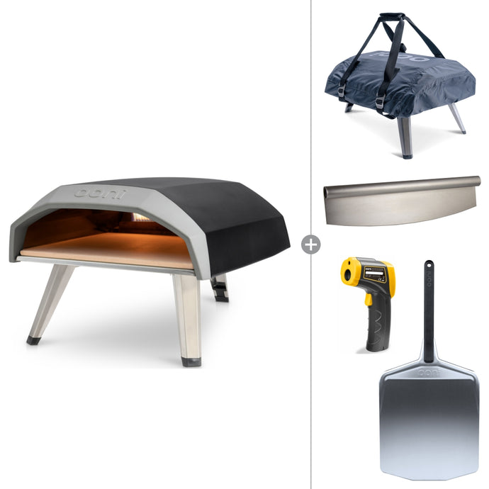 Ooni Koda 12 | Portable Gas Fired Pizza Oven Starter Bundle with Cover