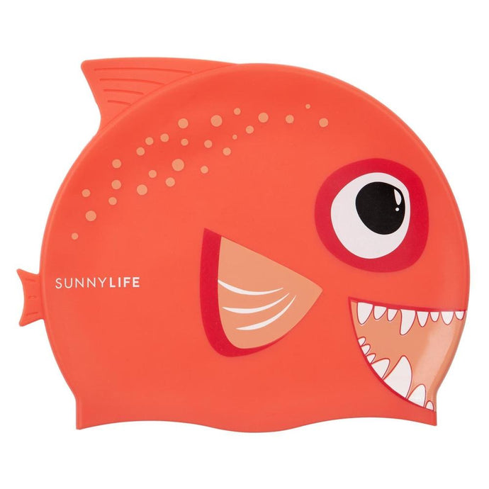 SUNNYLIFE | POOL CAPTAIN Fishy Swimming Cap - Orange Red