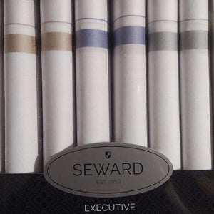 SEWARD | Men's Executive Handkerchiefs x 6 - White with Pastel Stripe