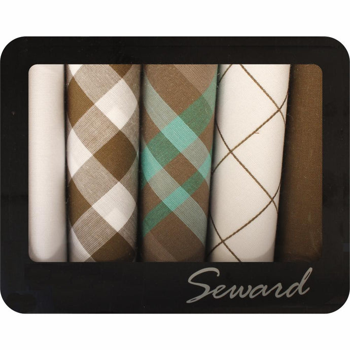 SEWARD | Men's Executive Metal Boxed Handkerchiefs set of 5 - Aqua & Khaki