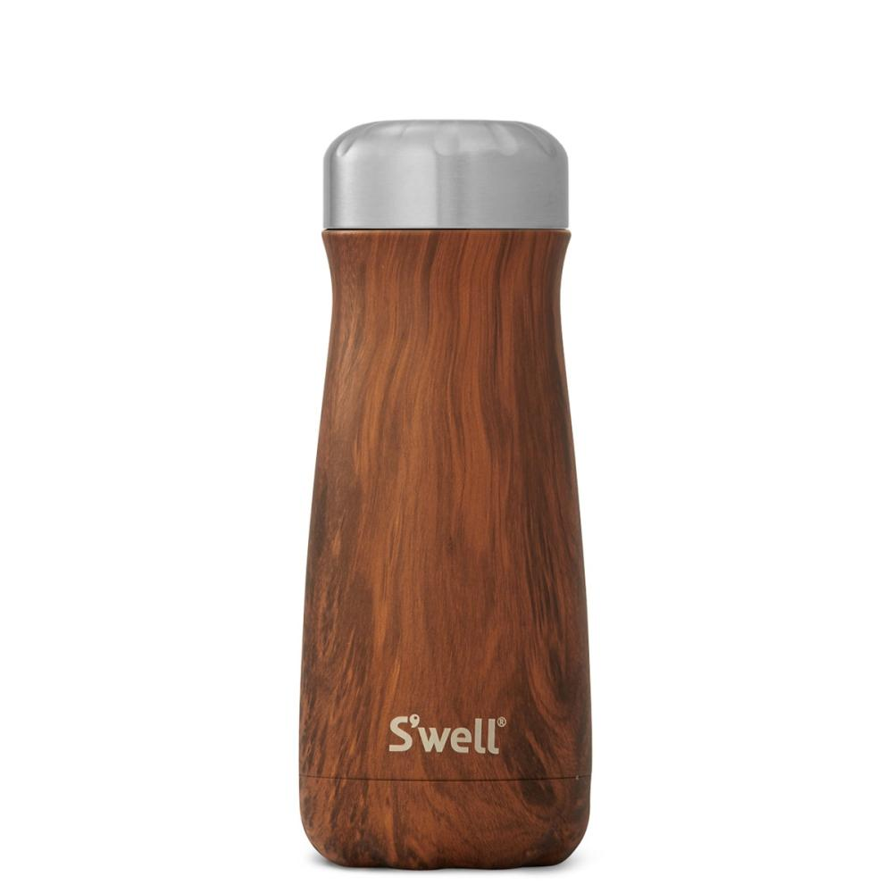 S'Well | Insulated Stainless Steel Bottle Flask Traveller Wood Collection 470ml - TeakWood