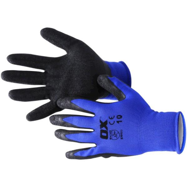 OX Safety Latex Gloves - Polyester Lined