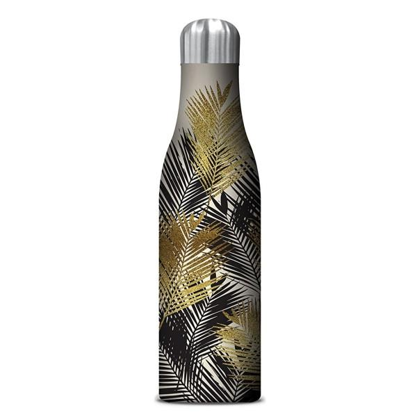 Insulated Drink Bottle with black and gold palm leaves