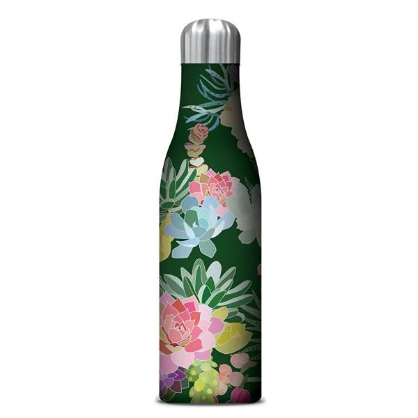 Insulated Drink Bottle Green with coloured succulents and flowers