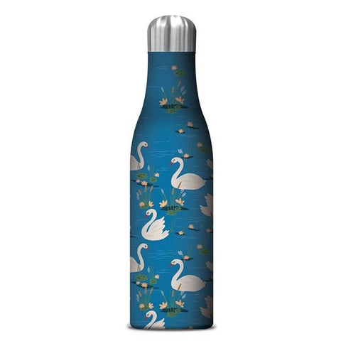Insulated Drink Bottle Blue with White Swans