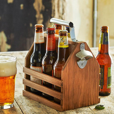 REFINERY Wooden Bottle Caddy with Opener