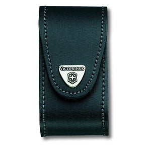 VICTORINOX |  Leather Knife Pouch with Rotating Metal Belt Clip - Black - 4.0521.31