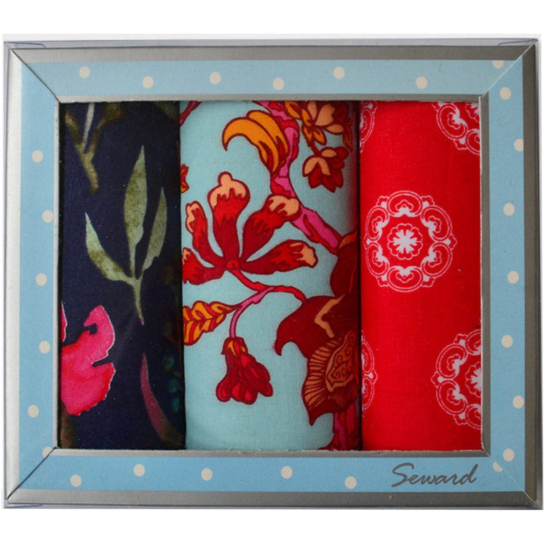 SEWARD | Ladies Premier Handkerchiefs Set 3 - Ruby