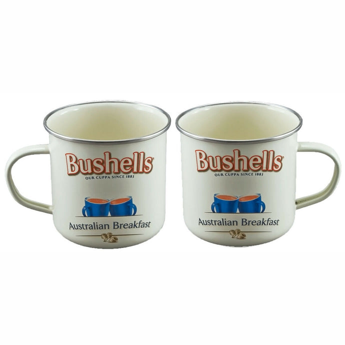 BUSHELLS Licensed SET of 2  9cm Enamel Mugs - 550ml