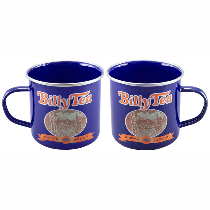 BILLY TEA Licensed SET of 2,  9cm Enamel Mugs - 550ml