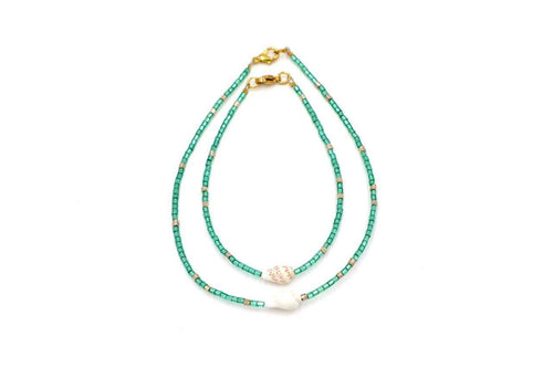 Isla PH Japanese Beads Anklet with Cone Shell Green - KS Boardriders | Philippines Online Branded Clothes & Surf Shop