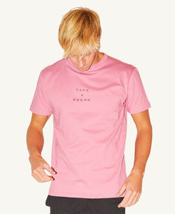 Pleasant Take a Break Embroidered Men's Tee (Dust Rose) - KS Boardriders | Philippines Online Branded Clothes & Surf Shop