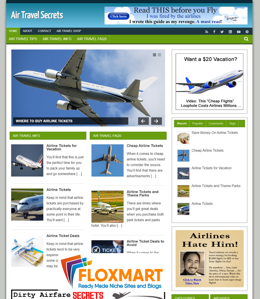 Air Travel Affiliate Website - Floxmart