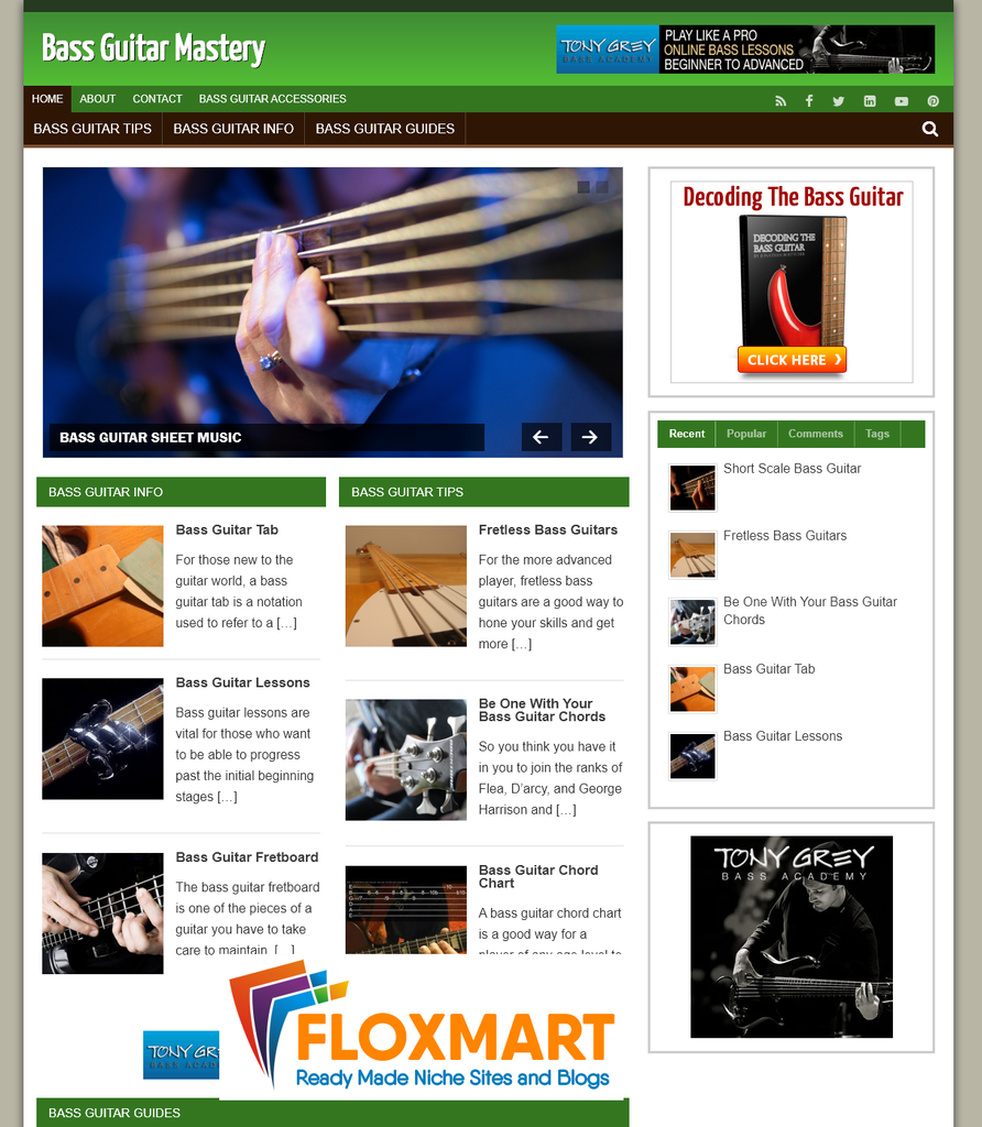 Bass Guitar PLR Niche Website - Floxmart