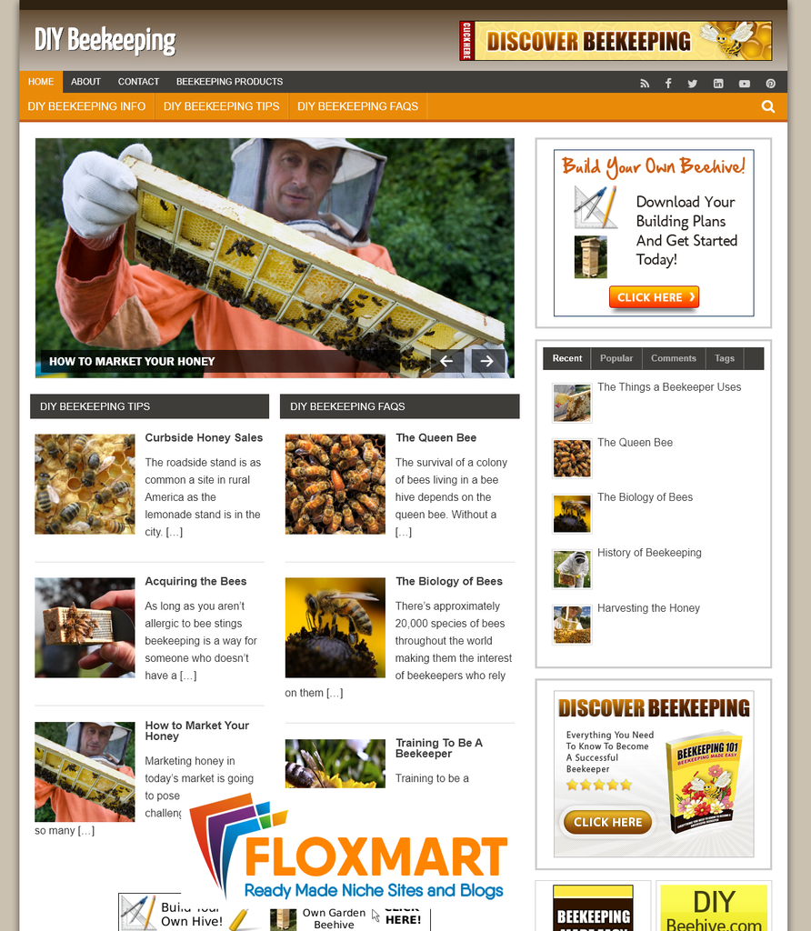 DIY Beekeeping Info Turnkey Website - Floxmart