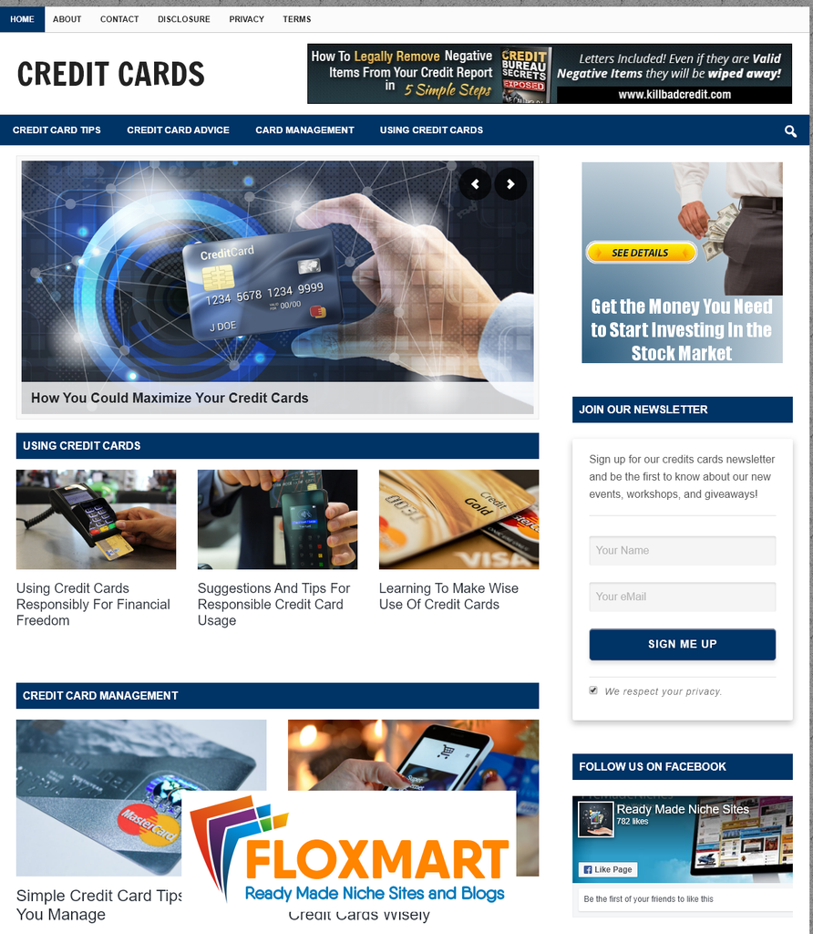 Credit Cards PLR Site - Floxmart