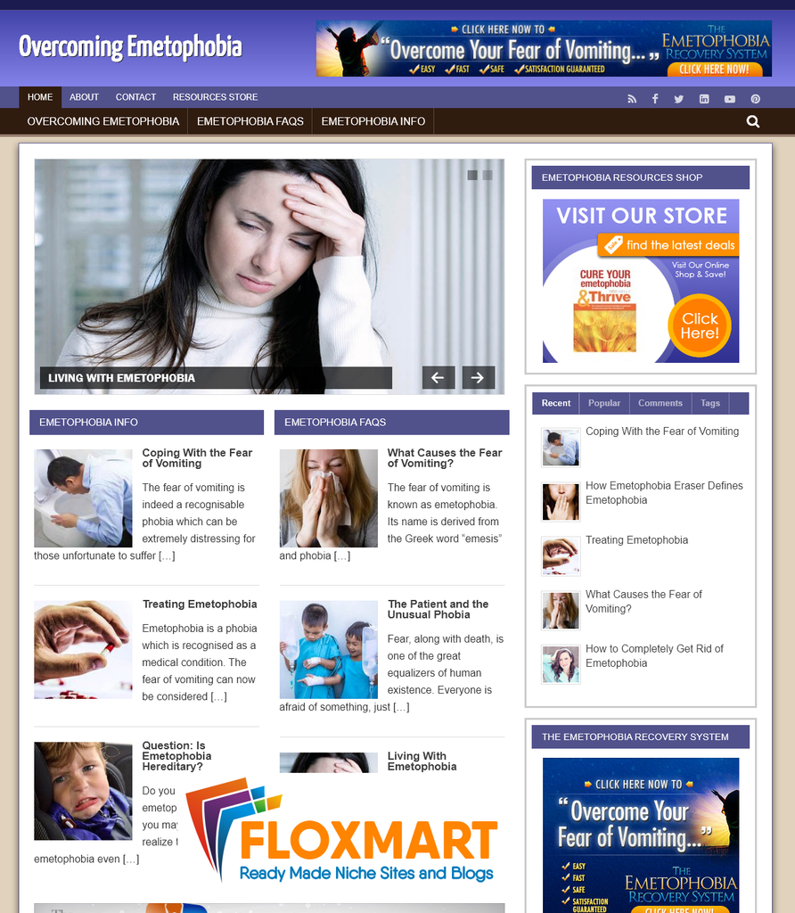 Emetophobia Ready Made Website - Floxmart