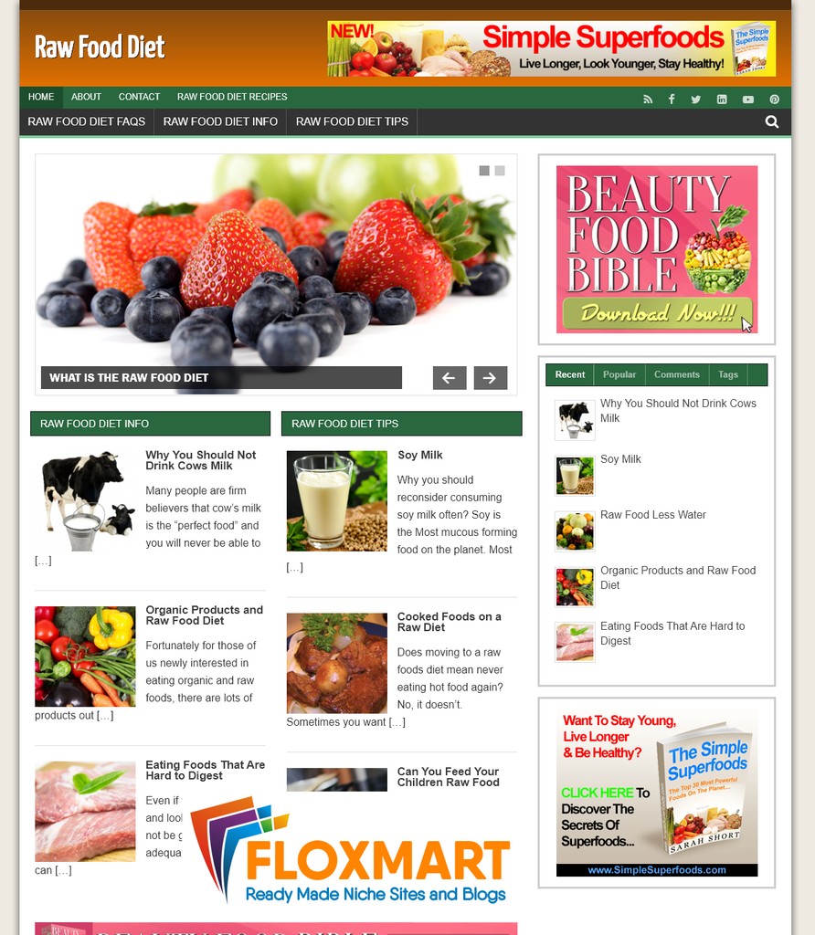 Raw Food Diet Niche Site - Floxmart